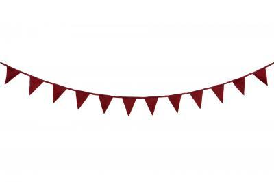 Girlang med vimplar i röd filt - 5 meter - Nostalgiska.se