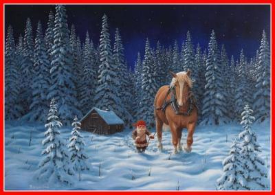 Julbonad tomte och häst - Nostalgiska.se