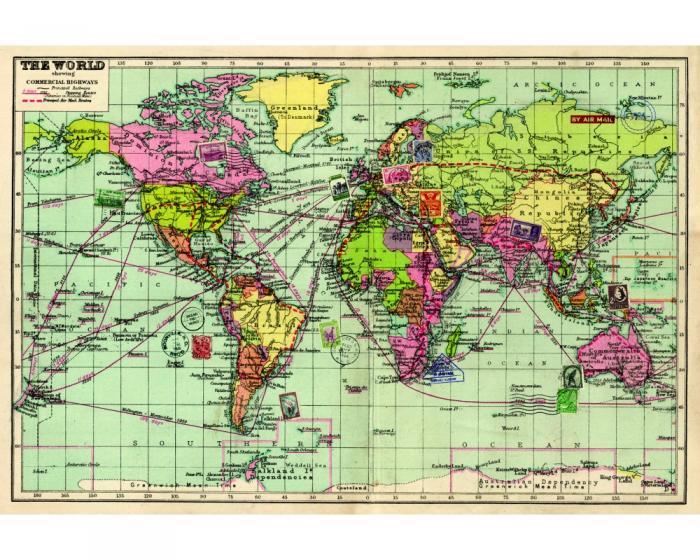 Vintage karta Världen - Nostalgiska.se