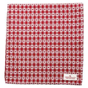 Julduk-Bordsduk röd med småhjärtan 145x250 cm - Nostalgiska.se