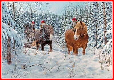 Julbonad ridande tomtar på timmerlass - Nostalgiska.se