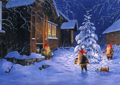 Adventskalender med glitter tomte i natten 35x25 cm - Nostalgiska.se
