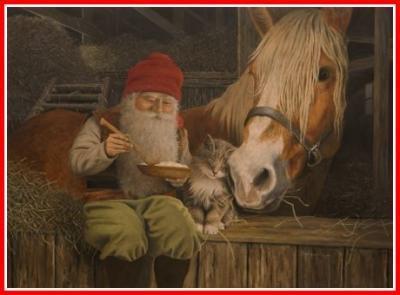 Julbonad tomte äter gröt i stallet med häst - Nostalgiska.se