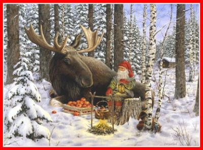Julbonad tomte och älg - Nostalgiska.se
