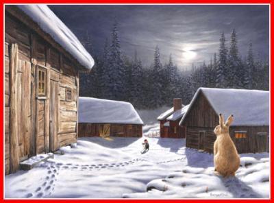 Julbonad hare tittar på skottande tomte - Nostalgiska.se