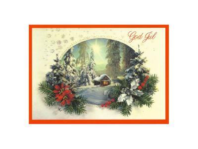 Julkort julstuga - Nostalgiska.se