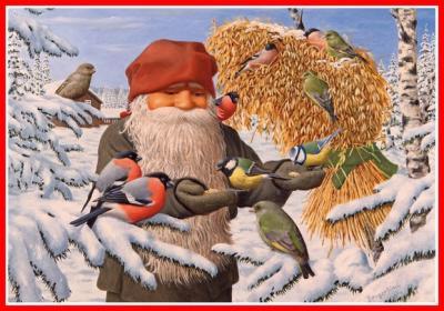 Julbonad tomte med kärve matar fåglar - Nostalgiska.se