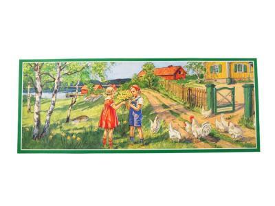 Påskbonad barn och höns - Nostalgiska.se