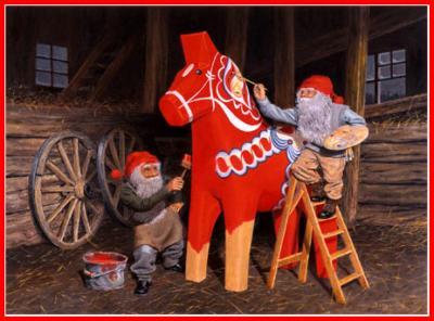 Julbonad tomte målar dalahäst - Nostalgiska.se