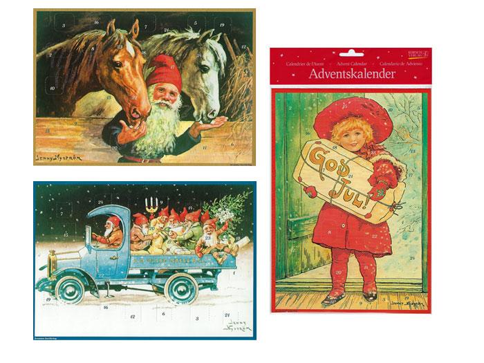 Adventskalender a4 med guldglitter, Jenny Nyström motiv - Nostalgiska.se
