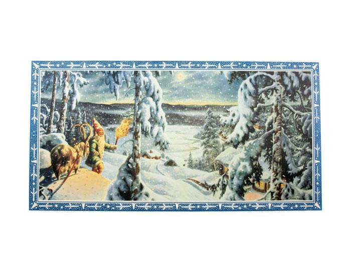 Julbonad tomte med get i snölandskap med - Nostalgiska.se