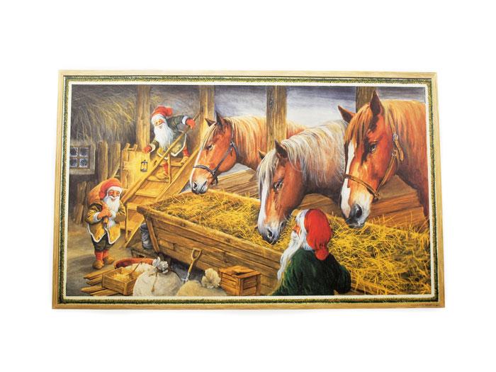 Julbonad hästar i stall - Nostalgiska.se