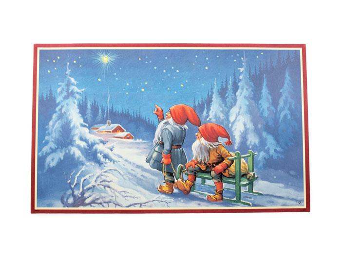Julbonad tomtar tittar på stjärna - Nostalgiska.se