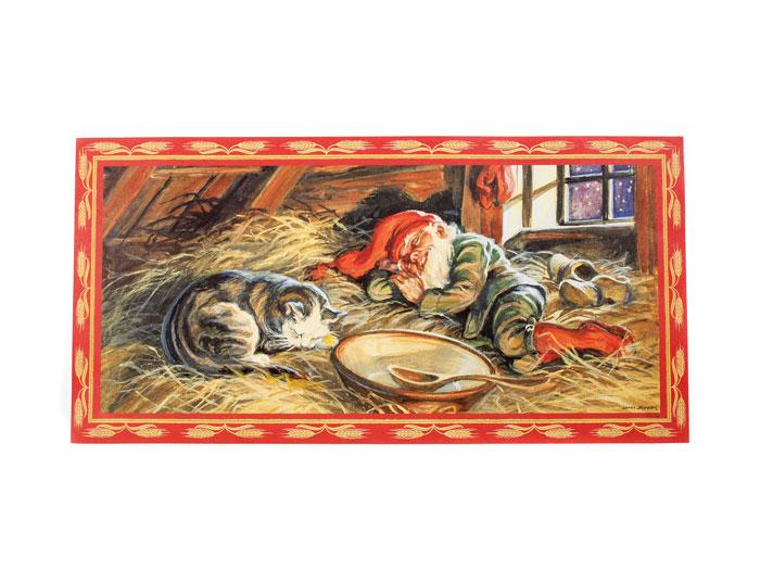 Julbonad sovande tomte med katt - Nostalgiska.se