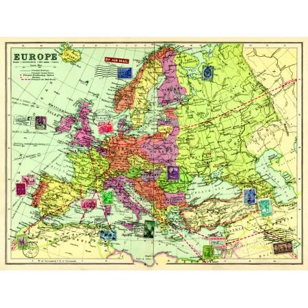 Vintage karta Europa - Nostalgiska.se