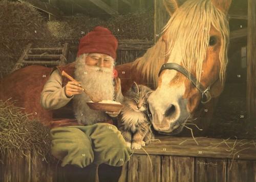Adventskalender tomte äter julgröt i stall 35x25 cm - Nostalgiska.se