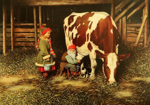 Adventskalender tomte mjölkar ko 35x25 cm - Nostalgiska.se