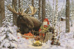 Adventskalenderkort med glitter och kuvert tomte med älg - Nostalgiska.se