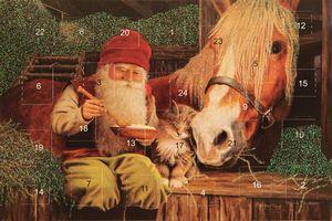 Adventskalenderkort med glitter och kuvert tomte med häst - Nostalgiska.se