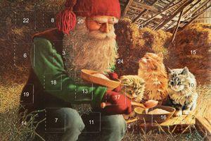 Adventskalenderkort med glitter och kuvert tomte med kattungar - Nostalgiska.se