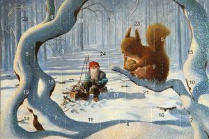 Adventskalenderkort med glitter och kuvert tomte med ekorre - Nostalgiska.se