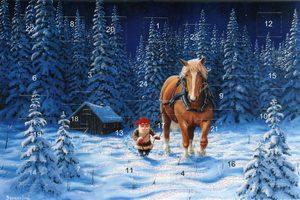 Adventskalenderkort med glitter och kuvert tomte kör häst - Nostalgiska.se