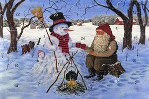 Adventskalenderkort med glitter och kuvert tomte med snögubbe - Nostalgiska.se