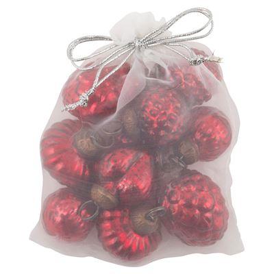 Röda Pomler - pumlor - julgranskulor i påse 10 st - Nostalgiska.se