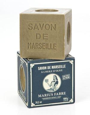 Marius Fabre Tvålkub Marseilletvål Grön 400 g - Nostalgiska.se