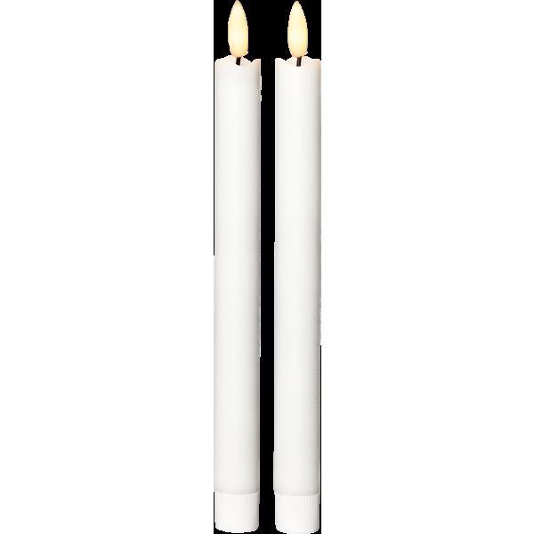 Antikljus 2 pack vax, med batteri och flammande låga- varmvitt ljus - Nostalgiska.se